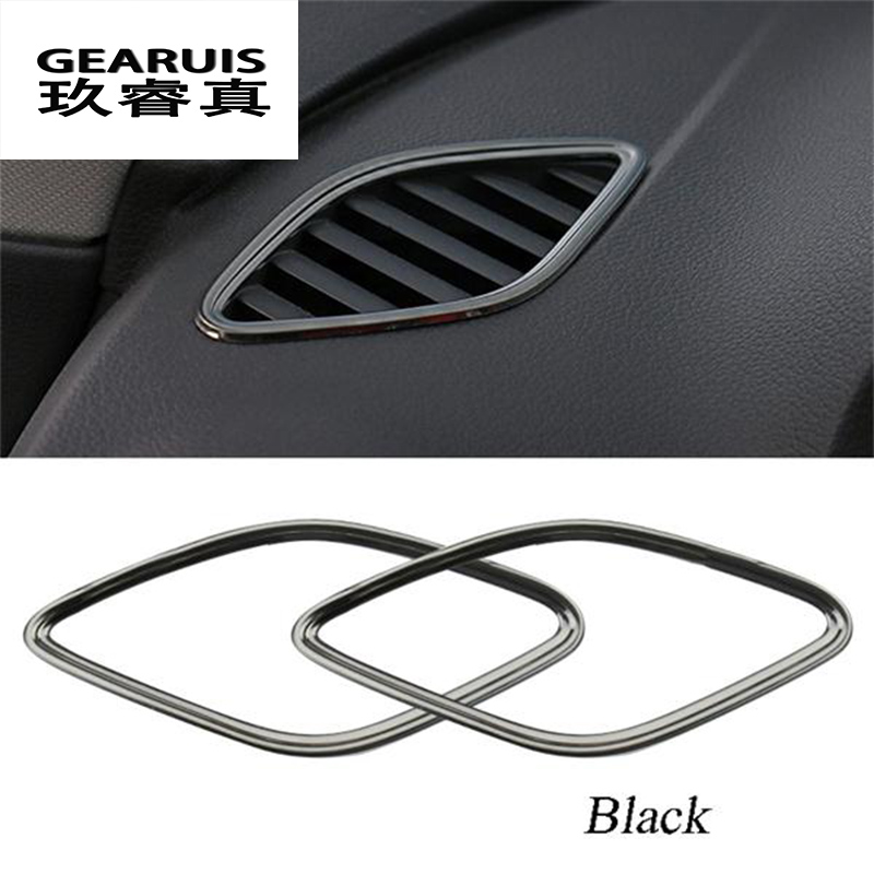 Car Air outlet conditioning Cover Decorative stainless steel frame Car Accessories 2pcs Set 3D stickers For