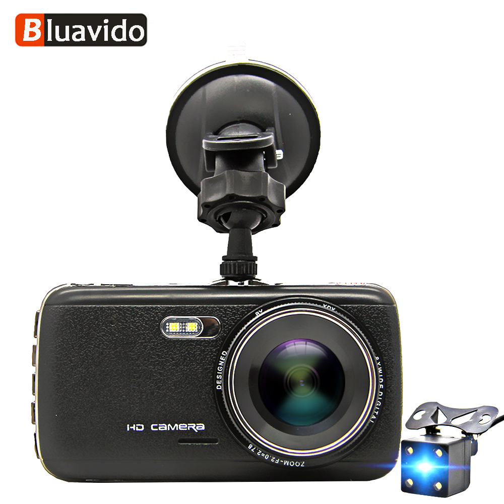Bluavido 4 Inch Full HD 1296P Car DVR Camera WDR Night Vision ADAS Dash Cam 170 degree Angle Dual Lens Video Recorder Blackbox автомобильный видеорегистратор g30 2 7 tft 170 hd wdr 1080p dvr blackbox 96650