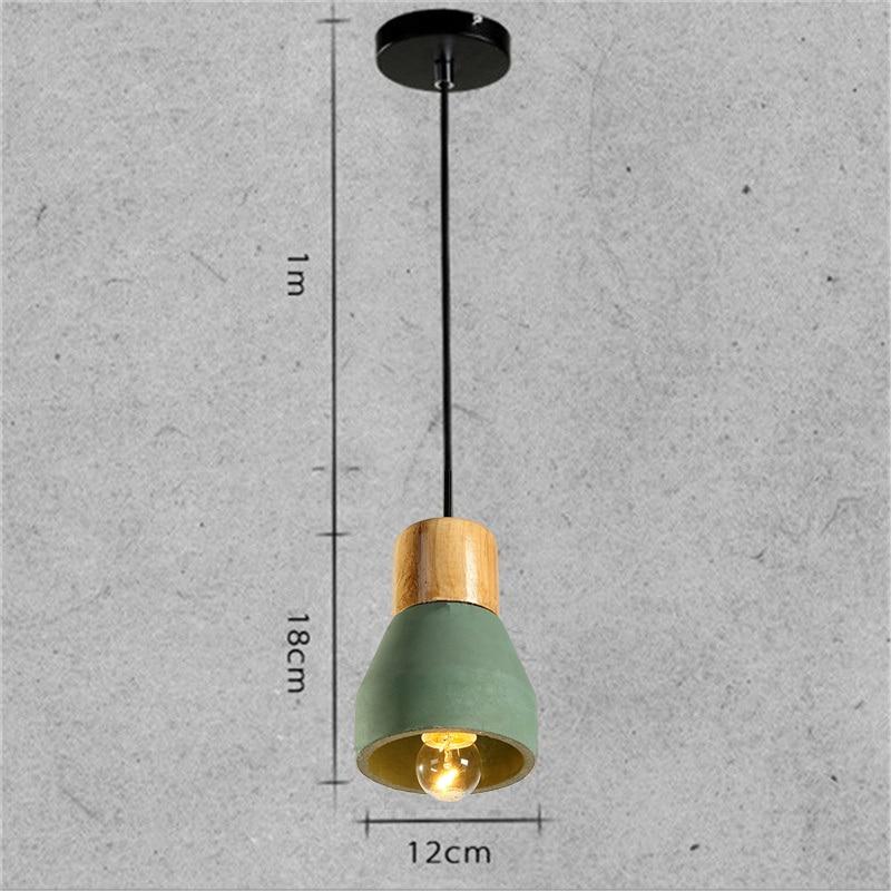 Vintage Green Cement Shade LED Light Industrial Lighting Fixtures Wooden Hotel Modern Pendant Lights Mini Pendant Ceiling Lamp in Pendant Lights from Lights Lighting