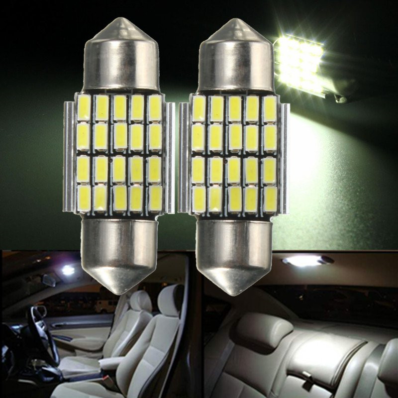2pcs 30mm <font><b>20</b></font> SMD 120LM 3014 LED Car <font><b>Auto</b></font> Interior Light <font><b>Bulbs</b></font> Festoon Dome Map Readlight <font><b>Bulb</b></font> Lamp White 6000K DC12V Car Styling image