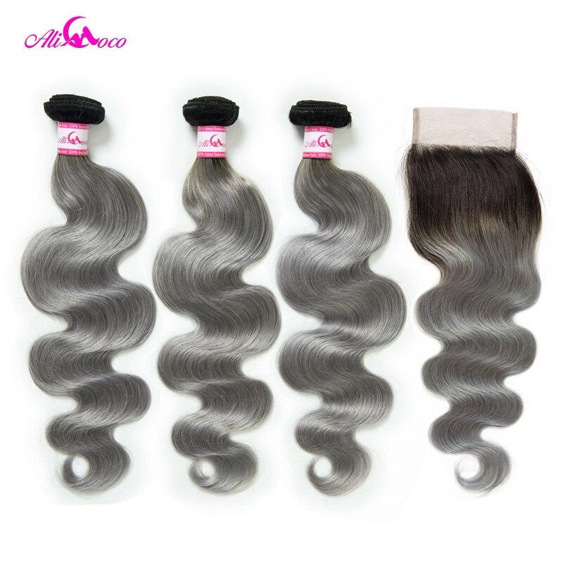 Али Коко Бразильский объемная волна Связки с закрытием 1B/серый Волосы remy 3 Связки с закрытием натуральные волосы Weave Связки
