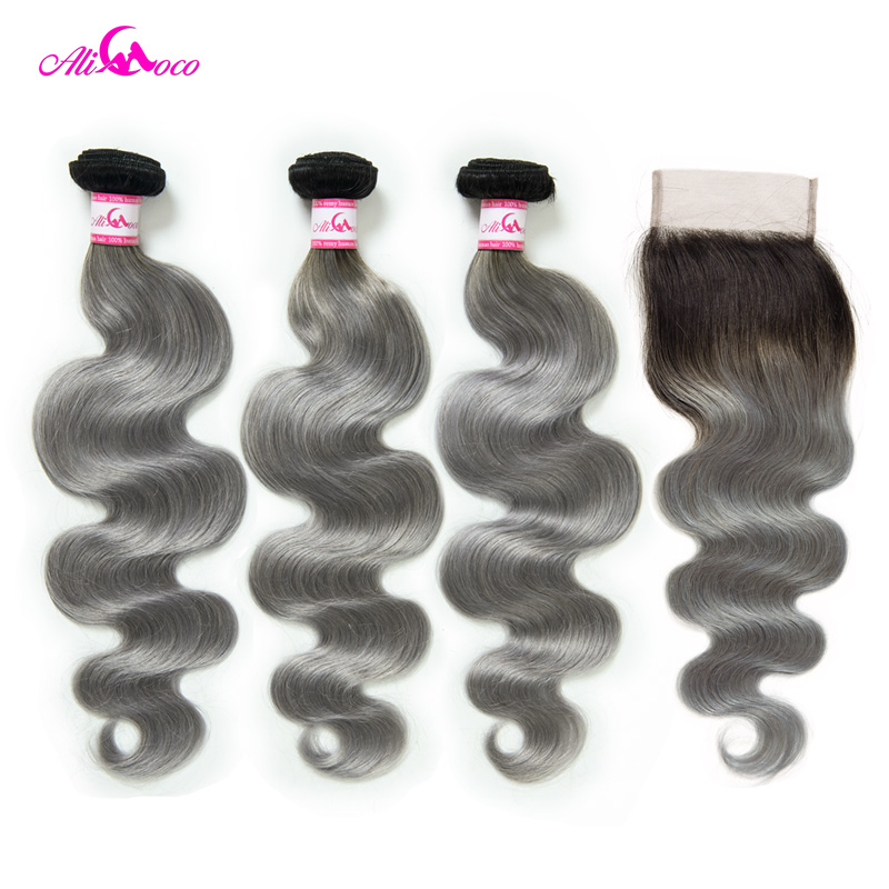 Али Коко бразильские тела волна пучки с закрытием 1B/серый волосы remy 3 пучки с закрытием человеческих волос Плетение Пучков