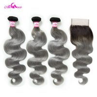 Ali Coco Brazilian Body Wave Bundles With Closure 1B/Grey Remy Hair 3 Bundles with Closure Human Hair Weave Bundles