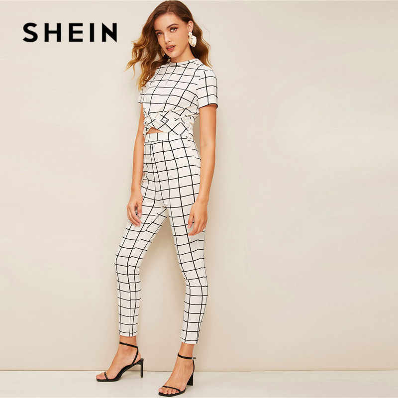 ded35385fc ... SHEIN Twist Front Grid Crop Top And Skinny Pants Matching Set Women  Clothing Spring Elegant Short