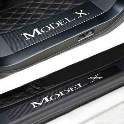 4 шт. автомобиль порога приветствуем наклейки педали набор наклейка Стиль Анти-Одежда Защитная украшения аксессуары для Тесла модель X ...