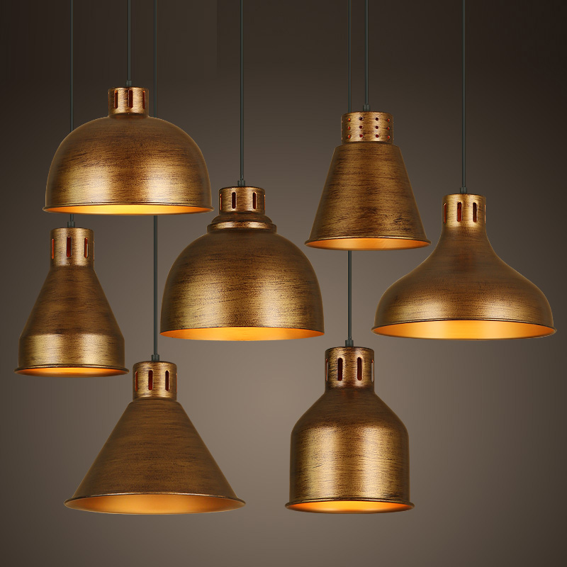 Buy loft style pendant lights gold e27 for Suspension metal cuisine