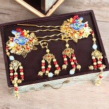 JaneVini 2019 китайский Стиль тиара заставки вечерние древних головках Для женщин винтажный головной убор Свадебные украшения Аксессуары для волос