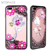 Luxury Silicone Phone Case For iPhone 8 7 6 6s Plus Cases 3D Lace Flower Girl Soft TPU Back Cover X Xs Max XR