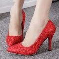 Las nuevas Señoras zapatos de Tacón Alto de China de Las Mujeres Rojas de Encaje Lentejuelas Zapatos De Novia Madura Fabricación de Calzado Mujer Bombas