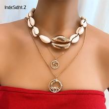 IngeSight.Z 2Pcs/Set Multi Layered Cowrie Shell Choker Necklace Collar Statement Crystal Circle Pendant Necklace Women Jewelry цена 2017