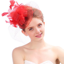 HT1795 Fascinator Putih Hitam Merah Feather Topi Wanita Pillbox Topi Gereja Wanita Antik Fedoras Pesta Veil Rambut Klip Topi Fedora(China)
