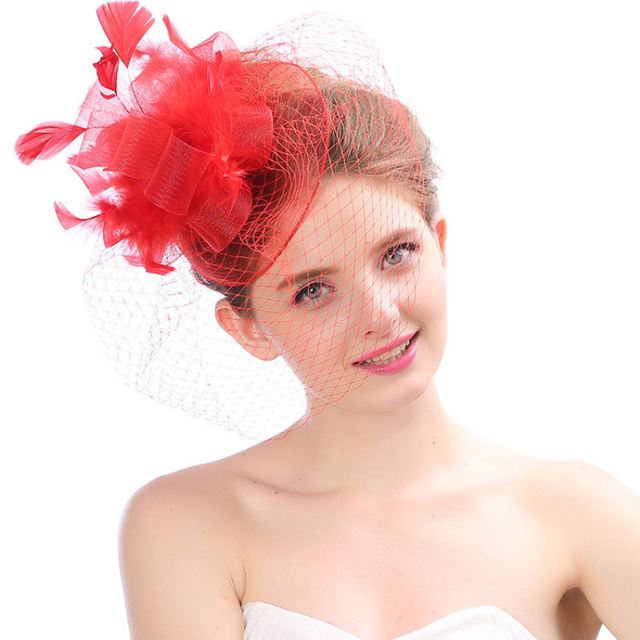 50a6bfc7ce4 HT1795 Fascinator White Black Red Feather Hat Women Pillbox Hats Church  Female Vintage Fedoras Party Veil Hair Clip Fedora Hats