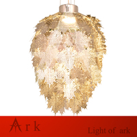 Modern etching stainless leaves led Pendant light gold silvers led lamp drop ligh decoration dining room Exhibition hall