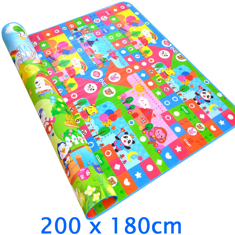 2 Meters Large Baby Crawling Mat Baby Play Mat Crawling Baby Carpet Children Rugs Double Side Cartoon Baby Floor Mat PX02-in Play Mats from Toys & Hobbies