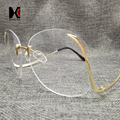 SHAUNA Único Oversize Mulheres óculos de Sol Sem Aro Moda Quadrados de Lentes Cor de Rosa Arco Forma Pernas Eyewear