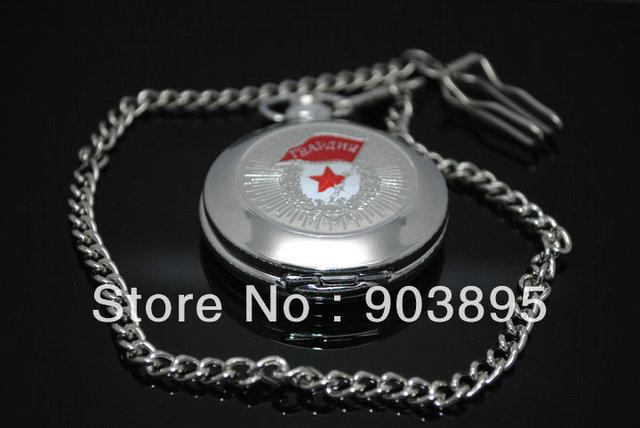 Russian Vingtage Silver Soviet BOLSHEVIK Mechanical FOB Pocket Watch Mens Military Pendant Watch Chain free ship