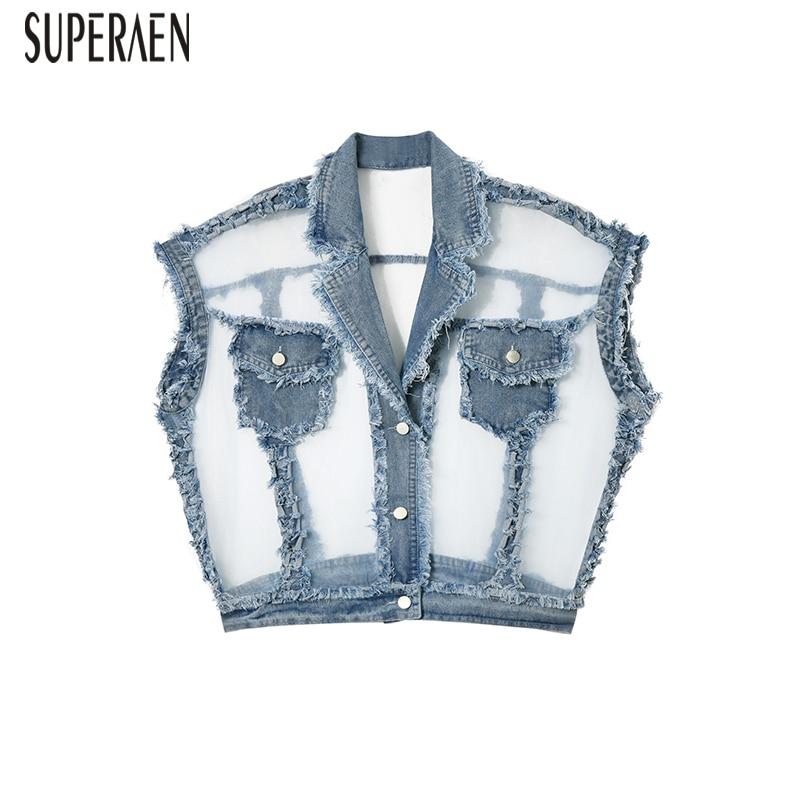 SuperAen Denim veste femme 2019 nouveau été mode sauvage décontracté femmes veste couture maille sans manches femmes vêtements