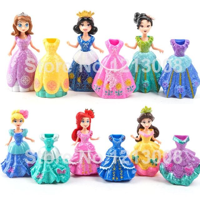 145 Nueva 6 Unids Princesa Muñeca 12 Vestidos Set Magiclip Fácil Vestido Ropa Figuras Juguetes Princesa Sofía Blanca Nieve Sirena Muñecas