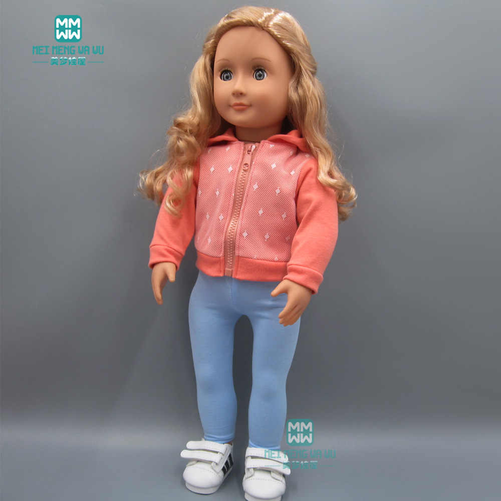 Doll clothes for 45cm American doll accessories fashion casual jacket + elastic trousers pants