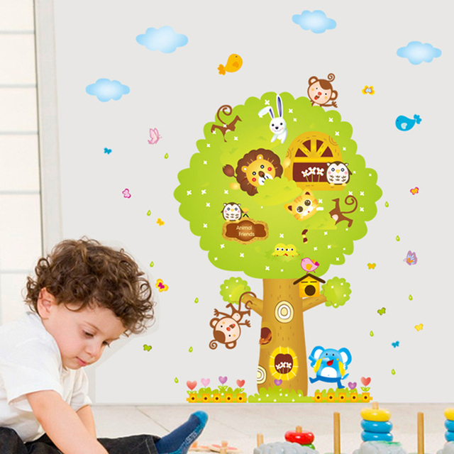 Cartoon animal tree house lion owl monkey cat vinyl wall stickers kids bedroom wallpaper decals baby