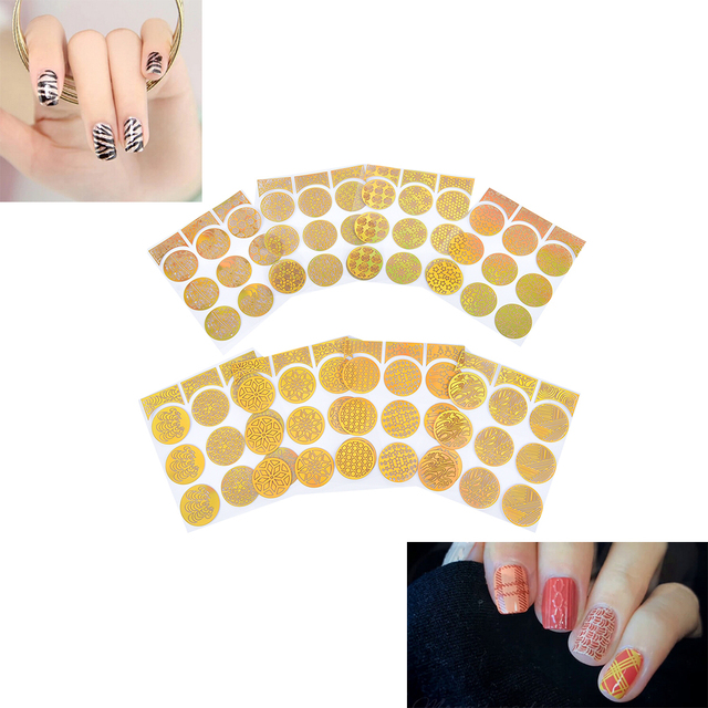 24 Sheets Creative 3d French Style Nail Art Template Design Round