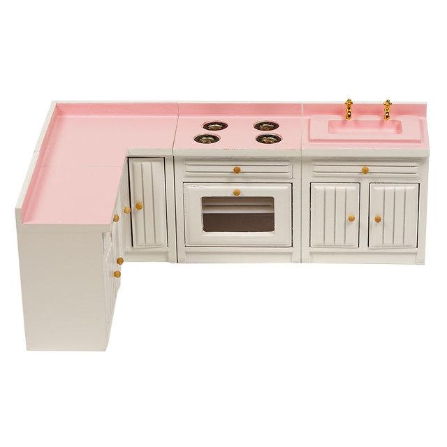 Doll House Miniature Kitchen Cabinets 4 pcs Set
