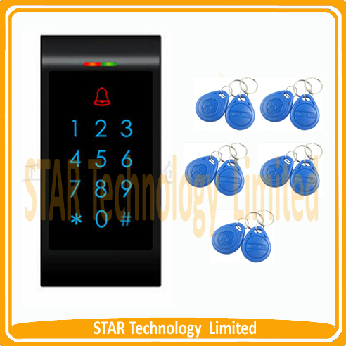 ФОТО Free shipping NEWEST access control ID card access machine+10 piece RFID Keyfobs