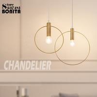 Copper Pendant Lamp Nordic Mini Round Shape Iron pendant lighting modern Minimalist Golden Ring Hanging Lights Bedroom