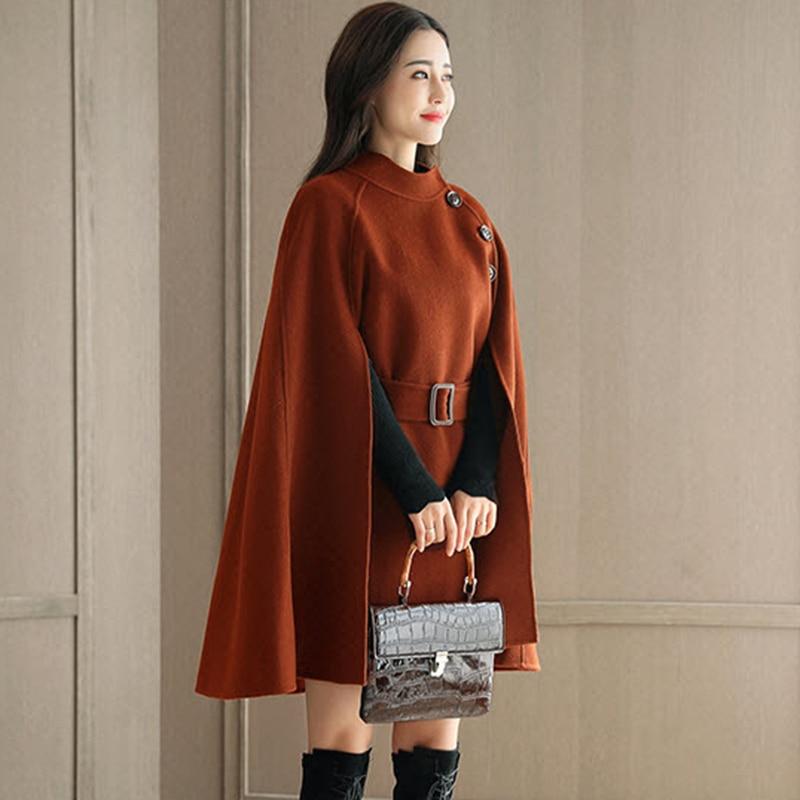 2018 New Autumn Female Woolen Capes Ponchos Fashion Slim Mediun Long Single Breasted Coats Women Woolen Blends Jackets FP1439