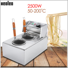 Купить с кэшбэком XEOLEO Electric Pasta cooker Noodle Cooker Stainless steel Electric Noodle Cooking stove Double baskets Boiler machine 2500W 220