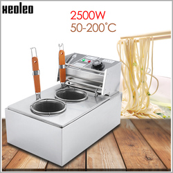 XEOLEO Electric Pasta cooker Noodle Cooker Stainless steel Electric Noodle Cooking stove Double baskets Boiler machine 2500W 220