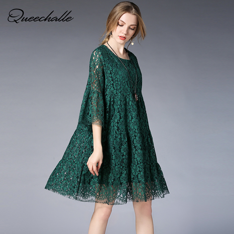 Queechalle Green Red Black Lace Dress for Women Three Quarter Hollow Out Flare Sleeve A-line Dress 3XL 4XL 5XL Sweet Party Dress a-line