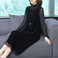 Black Color Mesh Patchwork Turtleneck Long Sleeve Elastic Dress Large Size Autumn 2018 Women Winter New Casual Fashion