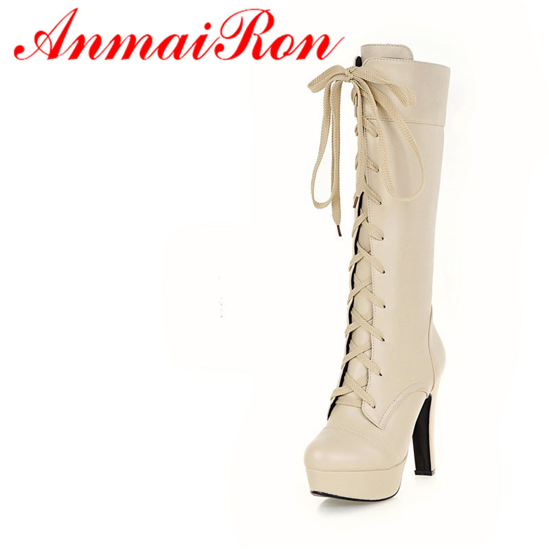 ANMAIRON Fashion Shoes Woman Mid-calf Boots Winter Warm Shoes Motorcyle Boots Big Size 34-45 Platform Shoes High Heels Lace-Up double buckle cross straps mid calf boots