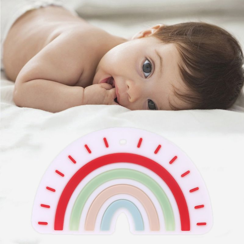 New Silicone Rainbow Tooth Gel Baby Teether Infant Newborn Chews Pacifier Chain Early Learning Toys