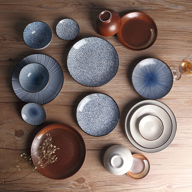 Japanese Traditional Style Ceramic Dinner Plates Porcelain Dishes Saucer plate Sushi plate Rice Noddle  Dinnerware