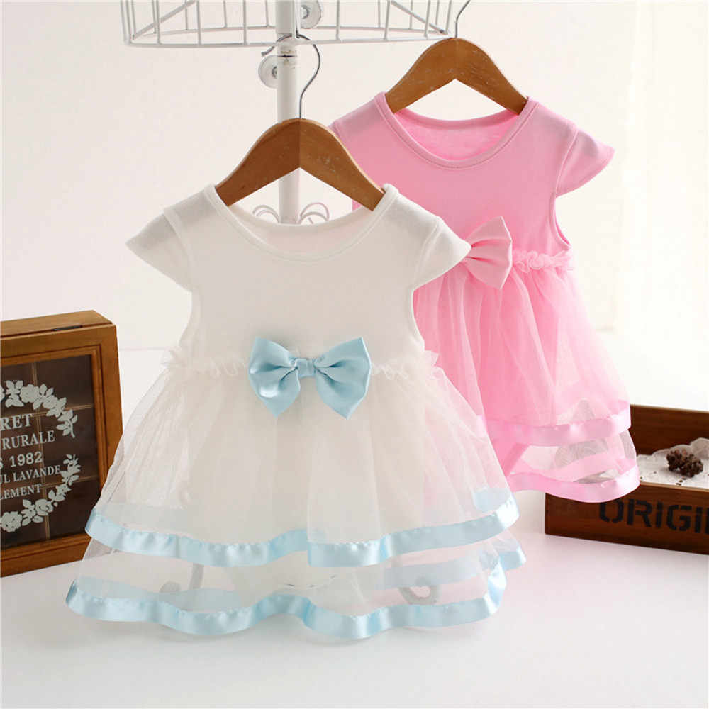 Birthday Party Tutu Bow Lace Dress for Baby Girls Patchwork White and Lovely Pink Jumpsuit Princess Romper Dress Clothes Summer