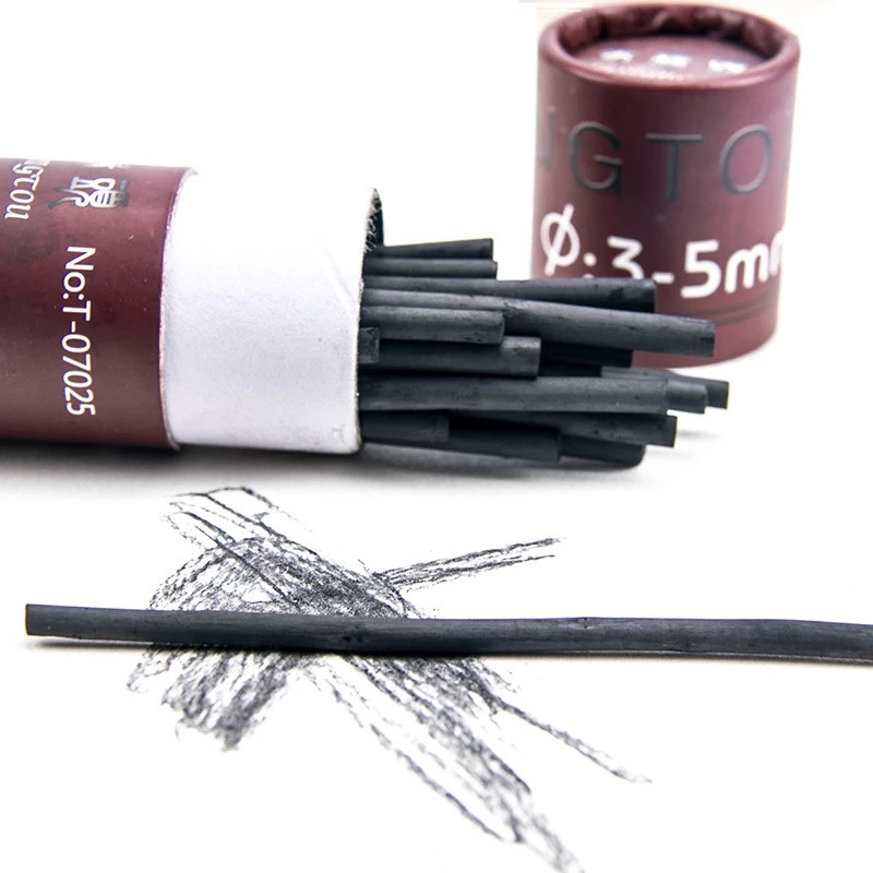 25 Pcs Sketching Cotton Willow Charcoal Strip 3-5MM Professional Graffiti Paniting Tool School Office Darwing Stationey Supplies