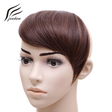 jeedou Pelo Sintético Bangs 30g Negro Marrón Rubio Asimetría Fringe Gradient bangs Clip 2Clips en Extensiones de Cabello Hairpieces