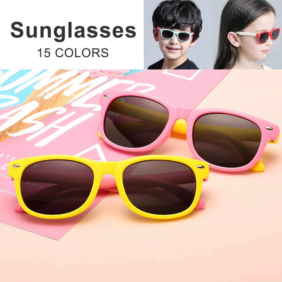 Mirror Kids Sunglasses with Case Boys Girls Polarized Silicone Safety Sun Glasses Gift For Children Baby UV400 Gafas in Sunglasses from Mother Kids