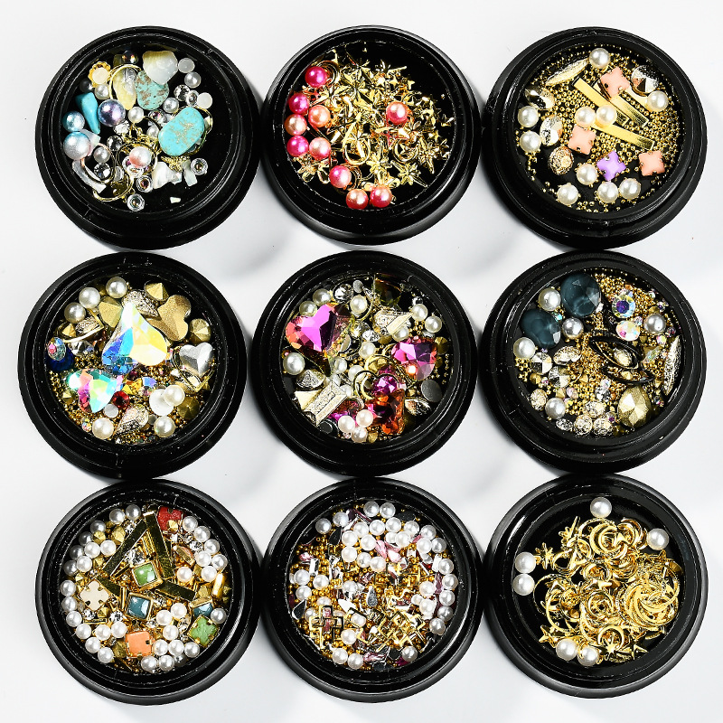 1Mix Box Set Star Moon UV Resin Epoxy Mold  Copper Round Rivet Sequins Diamond Ornaments For Jewelry Accessories Decoration