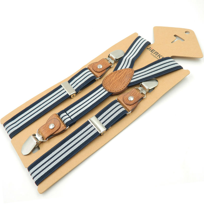 Baby Braces Kids Suspenders Boy Girl Suspenders Leather3Clips Strap Bukser Fashion Suspensorio Elastic Strap size 2.5 * 65cm