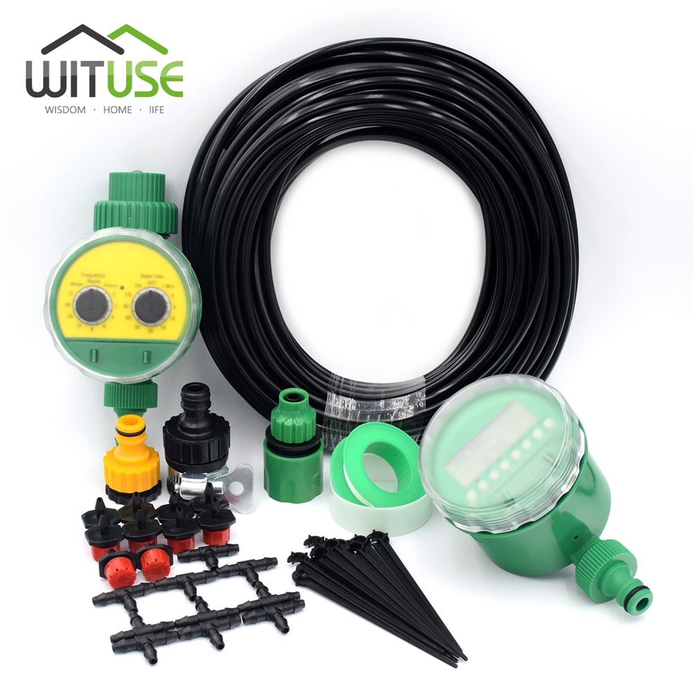 WITUSE 2 Choices 20m 25m 30m DIY Micro Drip Irrigation System Plant Self Automatic Watering Timer Garden Hose Kits With DripperWITUSE 2 Choices 20m 25m 30m DIY Micro Drip Irrigation System Plant Self Automatic Watering Timer Garden Hose Kits With Dripper