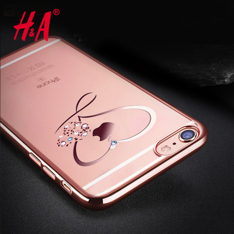 Ultra Thin Clean Soft TPU Case For iphone 6 4 7inch Crystal Phone Plating Glitter Diamond