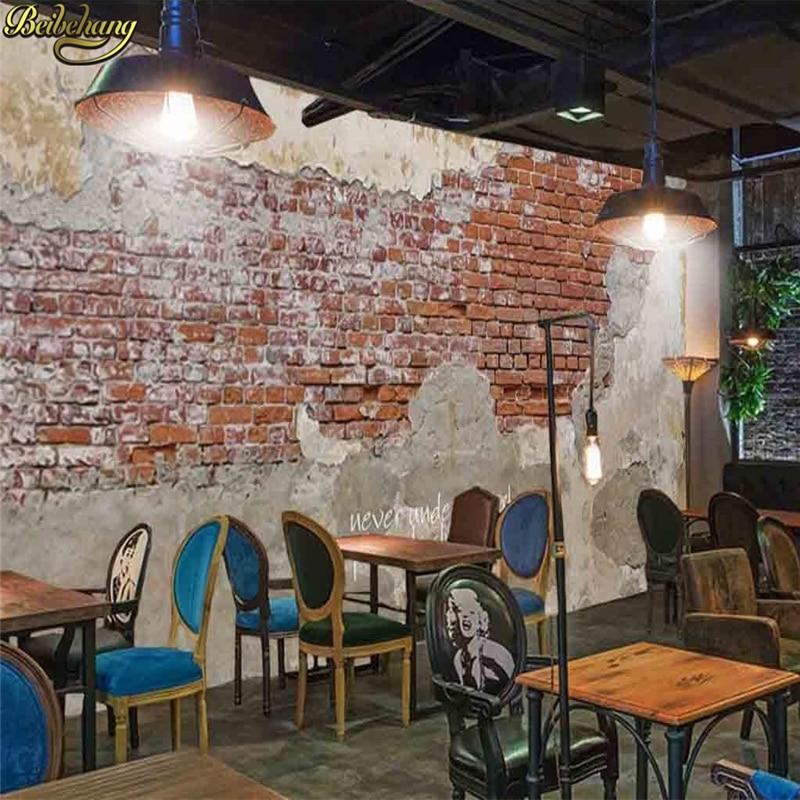 Beibehang Custom Photo Wallpaper Cement Retro Brick Wall Brick Cafe Restaurant Theme Hotel Background Mural Papel De Parede