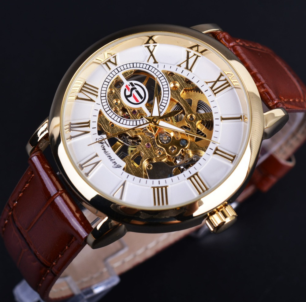 image products logo watches engraving product gold design black case skeleton hollow leather mechanical