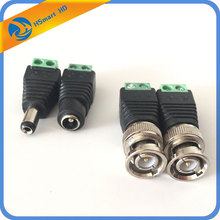 1 Set CAT5 To BNC Video And Power Balun Transceiver Connectors Male BNC Connector Terminal Coax CAT5 CCTV Camera TV Connector DV