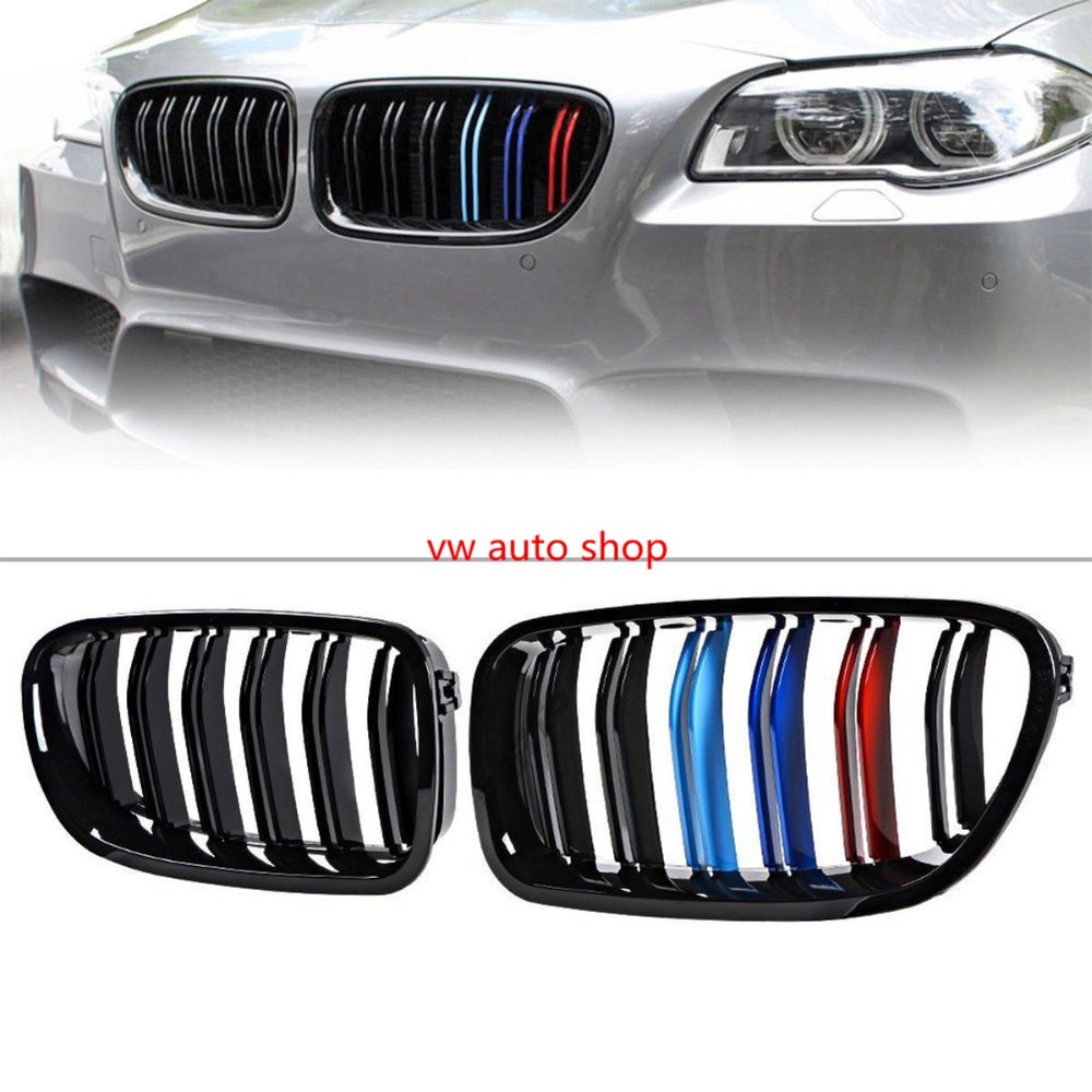 One pair For BMW F10 F18 5-Series Kidney Grill Grille Gloss Black M Look Sport 10-16  5-Series M5 520i 520d 525i 528i 2011-2016One pair For BMW F10 F18 5-Series Kidney Grill Grille Gloss Black M Look Sport 10-16  5-Series M5 520i 520d 525i 528i 2011-2016