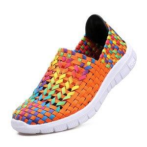 Image 3 - BEYARNESummer rahat ayakkabılar kadın için 2019 yeni kadın ayakkabısı el yapımı anne dokuma ShoesBreathable loaferlar üzerinde kayma FemaleFlatsE406