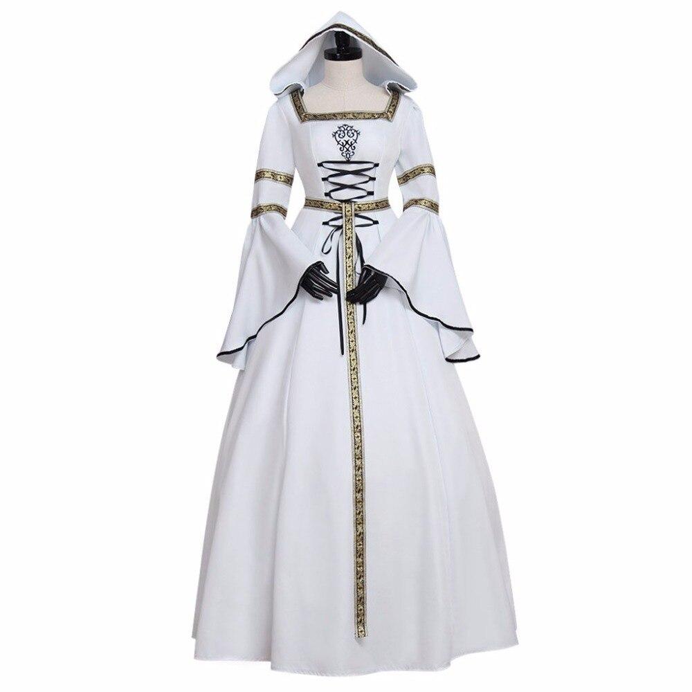 online store a1f35 82796 US $93.45 11% di SCONTO|Custom Made Abito Abito Bianco Da Sposa Medievale  Recoco delle Adulto Stile Vittoriano Vestito con Cappuccio da uomo Vestito  ...